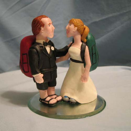 Hiking Couple Wedding Cake Topper